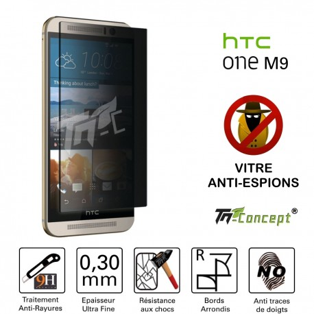 HTC One M9 - Vitre de Protection Anti-Espions - TM Concept®