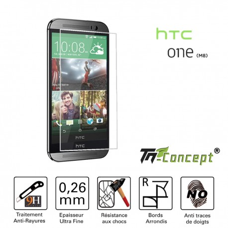HTC One M8 - Vitre de Protection Crystal - TM Concept®