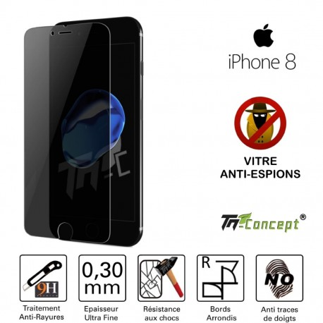 Apple iPhone 8 - Vitre de Protection Anti-Espions - TM Concept®
