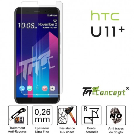 "HTC U11+ (6,0"") - Vitre de Protection Crystal - TM Concept®"