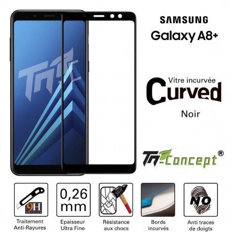 Samsung Galaxy A8+ (2018) - Vitre de Protection 3D Curved - TM Concept®