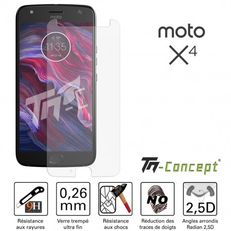 Motorola Moto X4 - Vitre de Protection Crystal - TM Concept®