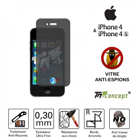 Apple Iphone 4 - Vitre de Protection Anti-Espions - TM Concept®