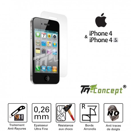 Iphone 4 / 4S - Vitre de Protection Crystal - TM Concept®