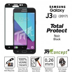Samsung Galaxy J3 (2017) - Vitre de Protection - Total Protect Noir - TM Concept®