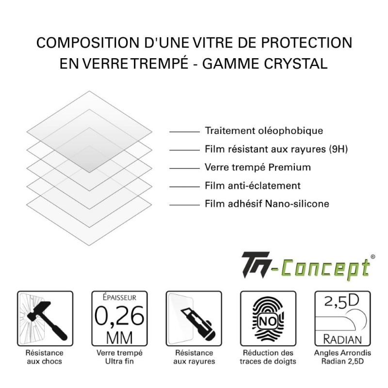 HTC U11+ vitre protection intégrale verre trempé avec cadre Noir - TM Concept®