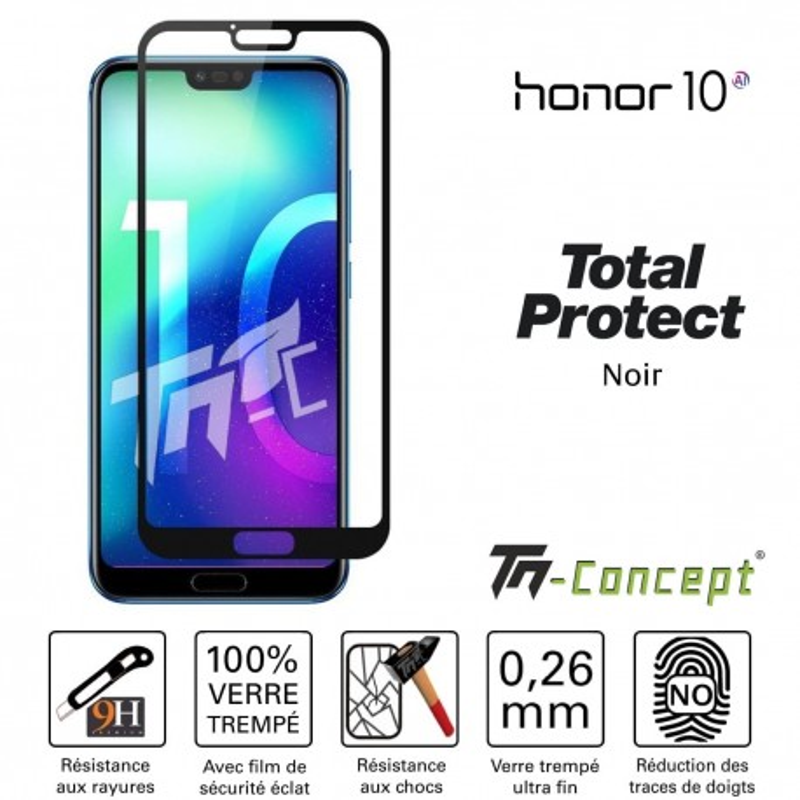 Huawei Honor 10 - Vitre protection intégrale - verre trempé avec cadre Noir - TM Concept®