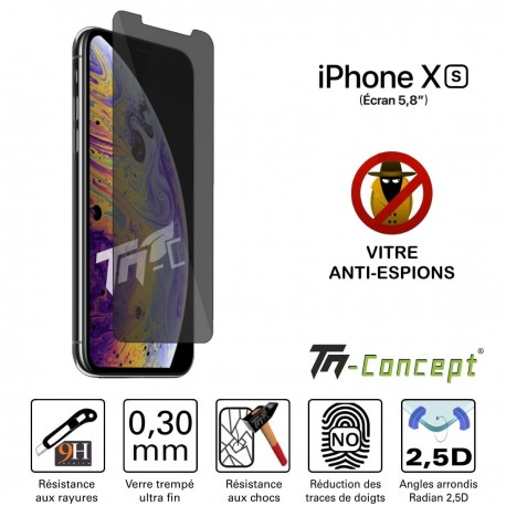 Apple iPhone XS - Vitre de Protection Anti-Espions - TM Concept®