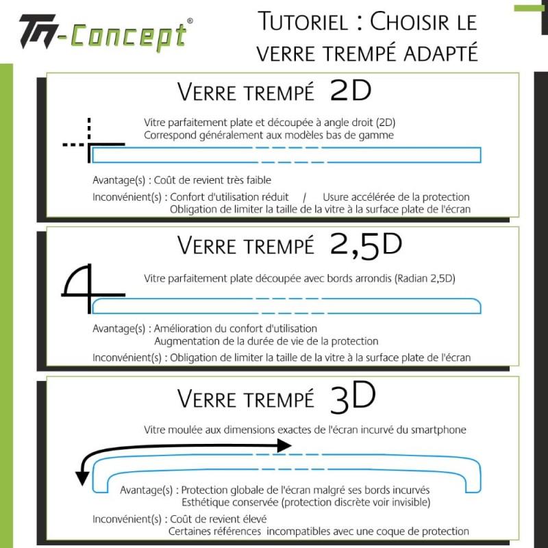 Samsung Galaxy S9+ Verre trempé incurvé 3D Silicone - TM Concept®