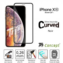 Apple iPhone XS - Verre-trempé 3D Curved - Noir - TM Concept®