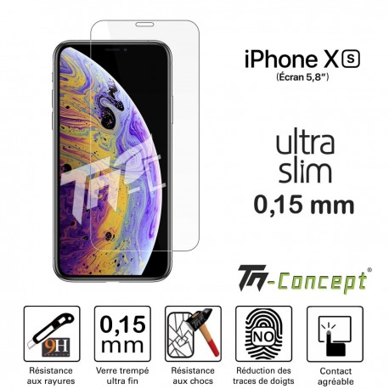 Apple iPhone XS - Verre trempé Ultra Slim 0,15 mm - TM Concept®
