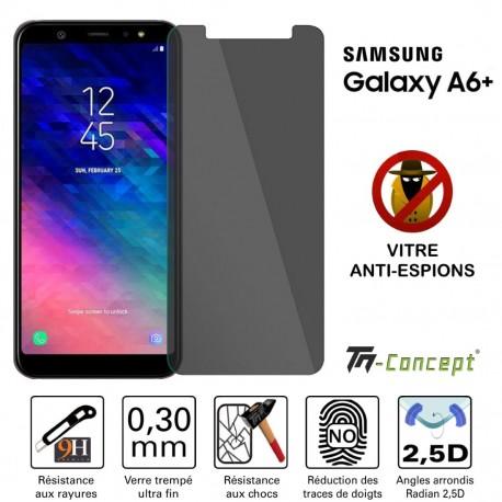 Samsung Galaxy A6 Plus (2018) - Verre trempé Anti-Espions - TM Concept®