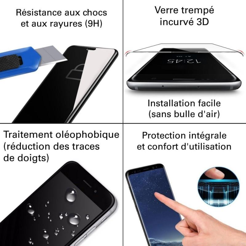 Samsung Galaxy Note 9 - Verre trempé 3D incurvé teinté anti-espion - TM Concept®