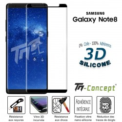 Samsung Galaxy Note 8 - Verre trempé incurvé 3D Silicone - TM Concept®