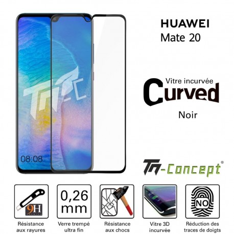 Huawei Mate 20 - Verre trempé 3D Curved - Noir - TM Concept®