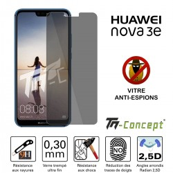 Huawei Nova 3e - Verre trempé Anti-Espions - TM Concept®
