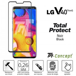 LG V40 ThinQ - Verre trempé intégral avec cadre Noir - TM Concept®