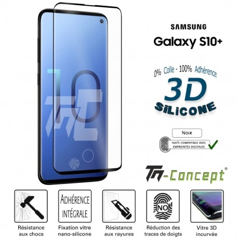 Samsung Galaxy S10 Plus - Verre trempé incurvé 3D Silicone - TM Concept®