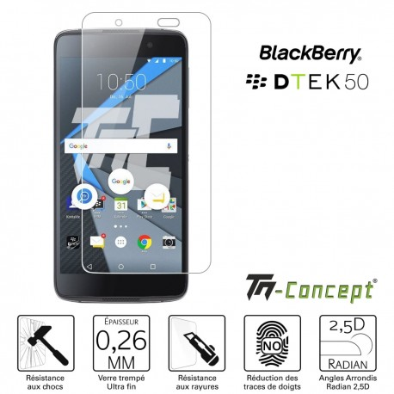 BlackBerry DTEK50 - Verre trempé TM Concept® - Gamme Crystal