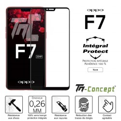 Oppo F7 - Verre trempé intégral Protect Noir - adhérence 100% nano-silicone - TM Concept®