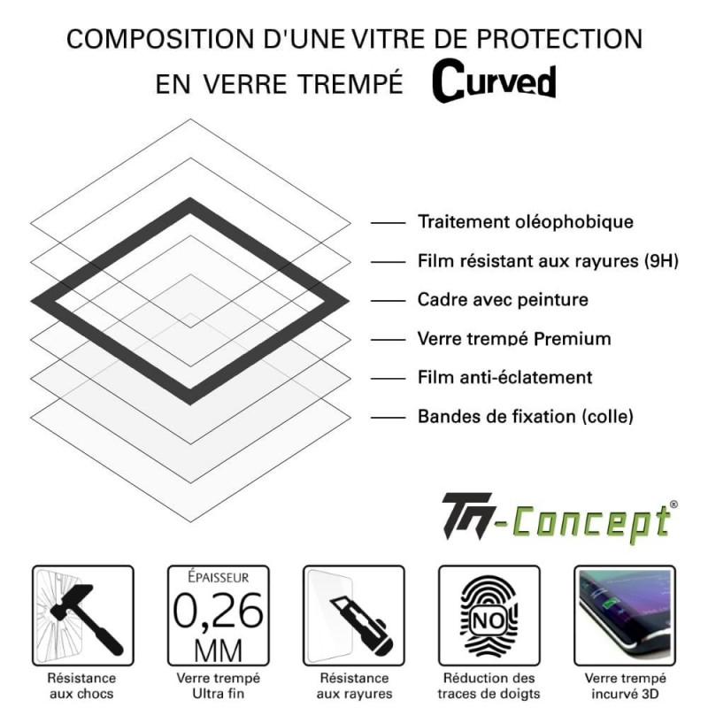 Xiaomi Pocophone F1 - Verre trempé intégral Protect Noir - adhérence 100% nano-silicone - TM Concept®