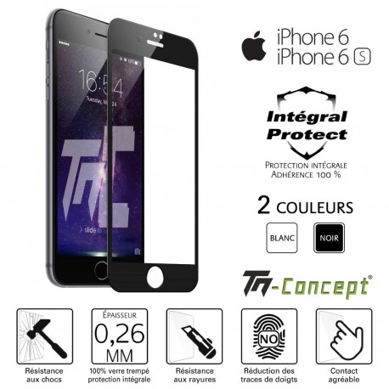 Apple iPhone 6 / 6S - Verre trempé intégral Protect Noir - adhérence 100% nano-silicone - TM Concept®