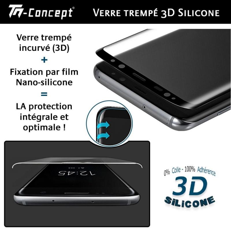 Apple iPhone 7 Plus - Verre trempé intégral Protect Noir - adhérence 100% nano-silicone - TM Concept®