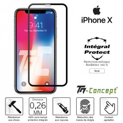 Apple iPhone X - Verre trempé intégral Protect Noir - adhérence 100% nano-silicone - TM Concept®