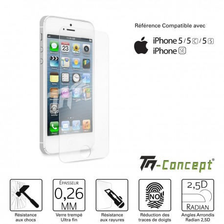Iphone 5 / 5C / 5S - Vitre de Protection Crystal - TM Concept®