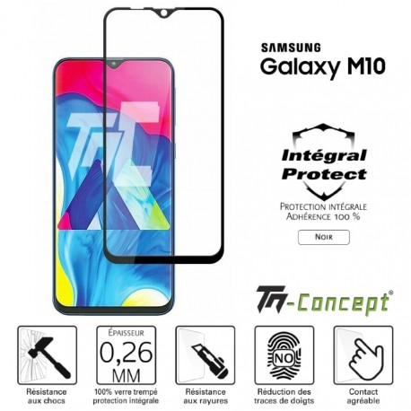 Samsung Galaxy M10 - Verre trempé intégral Protect Noir - adhérence 100% nano-silicone - TM Concept®
