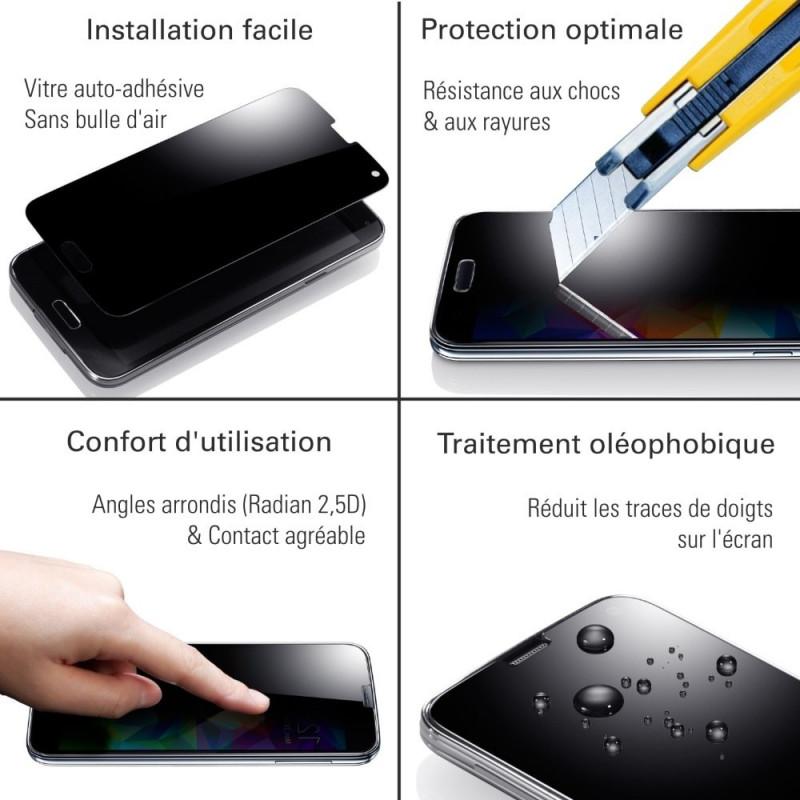 Samsung Galaxy M20 - Verre trempé intégral Protect Noir - adhérence 100% nano-silicone - TM Concept®