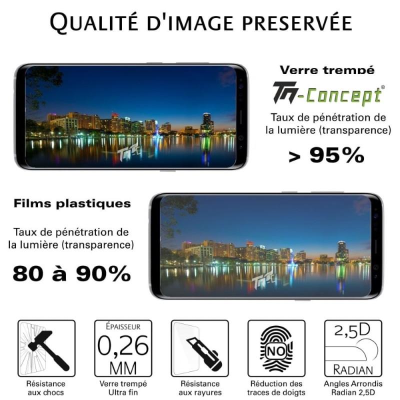 Samsung Galaxy A6 (2018) - Verre trempé intégral Protect Noir - adhérence 100% nano-silicone - TM Concept®
