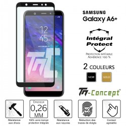 Samsung Galaxy A6 Plus (2018) - Verre trempé intégral Protect - adhérence 100% nano-silicone - TM Concept®