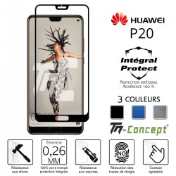 Huawei P20 - Verre trempé intégral Protect - adhérence 100% nano-silicone - TM Concept®