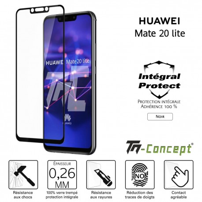 Huawei Mate 20 Lite - Verre trempé intégral Protect Noir - adhérence 100% nano-silicone - TM Concept®