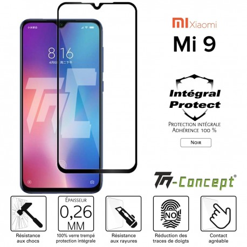 Xiaomi Mi 9 - Verre trempé intégral Protect Noir - adhérence 100% nano-silicone - TM Concept®