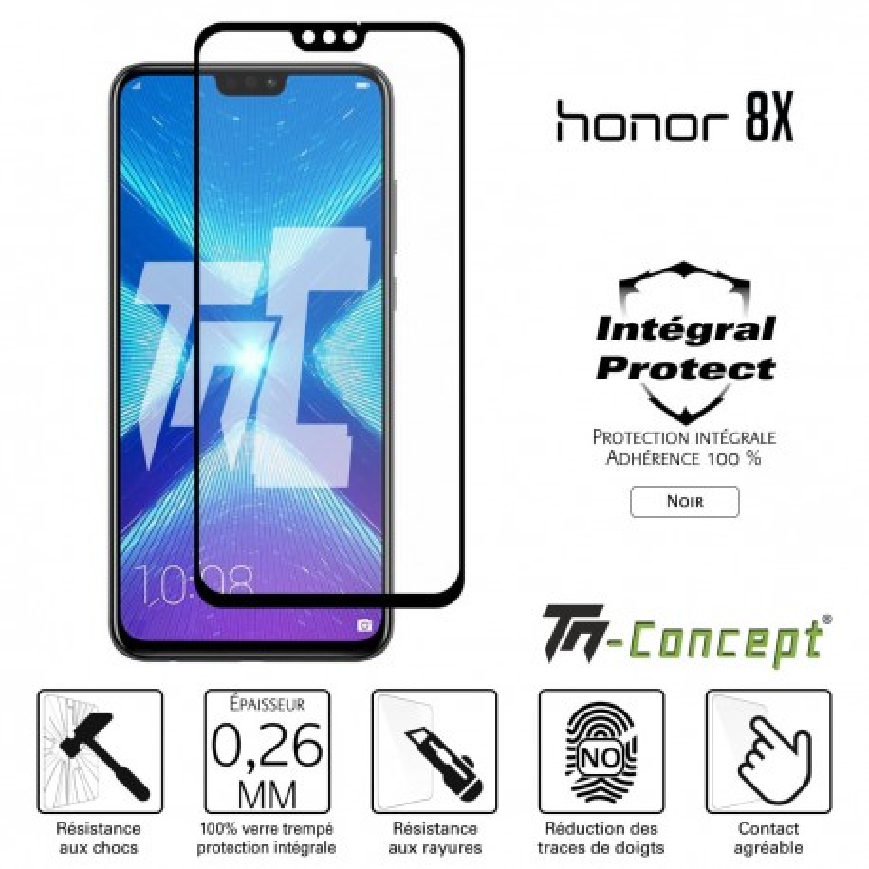 Huawei Honor 8X - Verre trempé intégral Protect Noir - adhérence 100% nano-silicone - TM Concept®