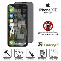 Apple iPhone XS - Verre trempé Anti-Espions - Intégral Privacy - TM Concept®