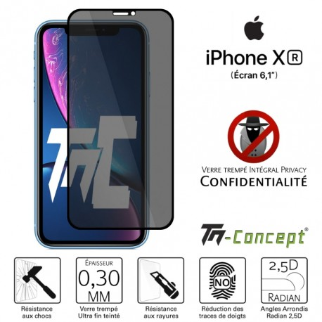 Apple iPhone XR - Verre trempé Anti-Espions - Intégral Privacy - TM Concept®