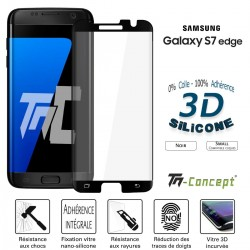 Samsung Galaxy S7 Edge - Verre trempé incurvé 3D Silicone - TM Concept®