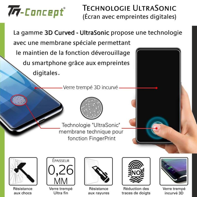 Samsung Galaxy A60 - Verre trempé intégral Protect Noir - adhérence 100% nano-silicone - TM Concept®
