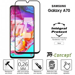 Samsung Galaxy A70 - Verre trempé intégral Protect Noir - adhérence 100% nano-silicone - TM Concept®