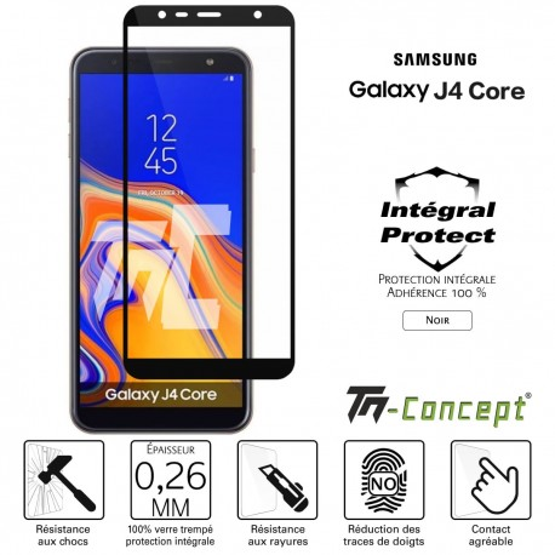 Samsung Galaxy J4 Core - Verre trempé intégral Protect Noir - adhérence 100% nano-silicone - TM Concept®