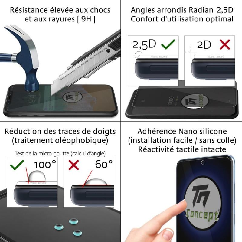 Samsung Galaxy J6+ (2018) - Verre trempé intégral Protect Noir - adhérence 100% nano-silicone - TM Concept®