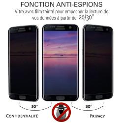 Samsung Galaxy J8 (2018) - Verre trempé intégral Protect Noir - adhérence 100% nano-silicone - TM Concept®