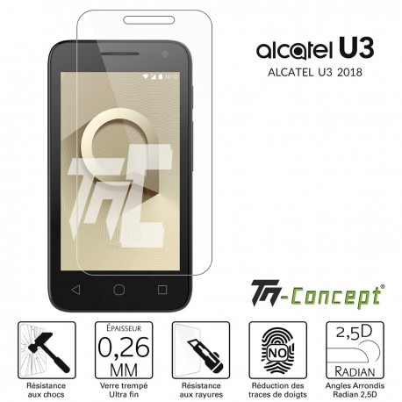 Alcatel U3 2018 - Verre trempé TM Concept® - Gamme Crystal