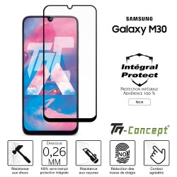 Samsung Galaxy M30 - Verre trempé intégral Protect Noir - adhérence 100% nano-silicone - TM Concept®