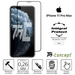 Apple iPhone 11 Pro Max - Verre trempé intégral Protect Noir - adhérence 100% nano-silicone - TM Concept®