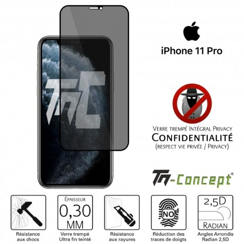 Apple iPhone 11 Pro - Verre trempé Anti-Espions - Intégral Privacy - TM Concept®