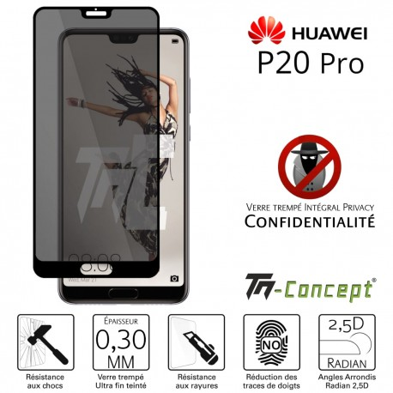Huawei P20 Pro - Verre trempé Anti-Espions - Intégral Privacy - TM Concept®